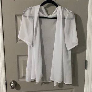 EUC Lane Bryant Sheer White Short Sleeve Top